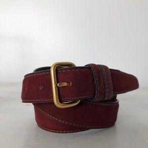 vintage burgundy cashmere suede belt